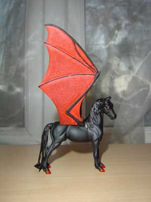 Black and red dragon horse.